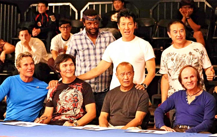 Don with Richard Norton Phillip Rhee Dan Inosanto James Lew and Benny Urquidez on the set of Underdog Kids