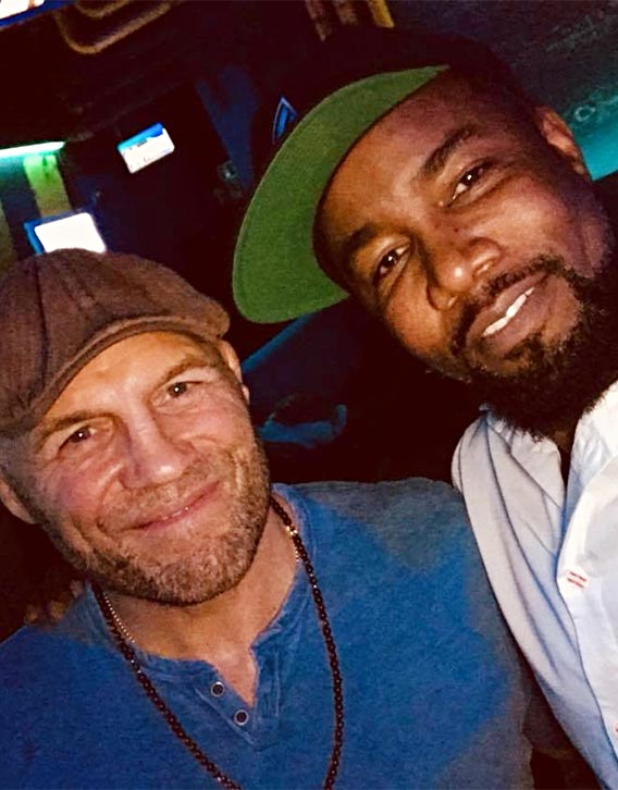 Mike with UFC legend Randy Couture on set of The Hard Way