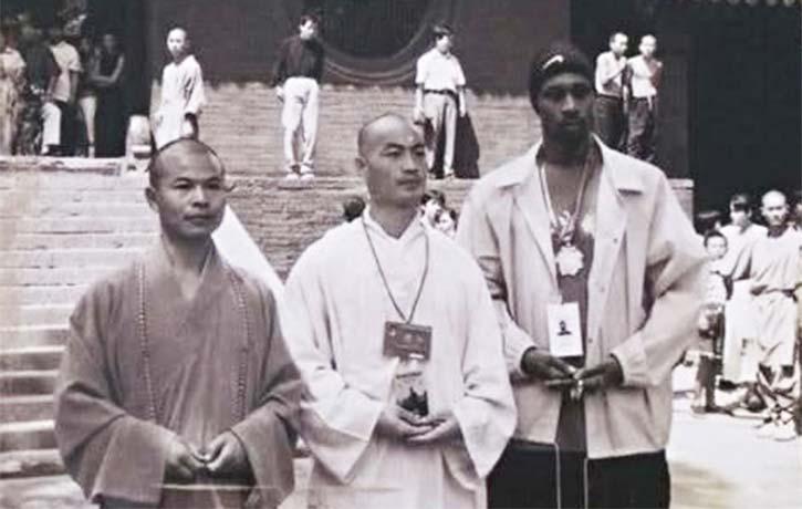 Shifu Yan Ming with RZA and Shi De Yang at the original Shaolin Temple in China