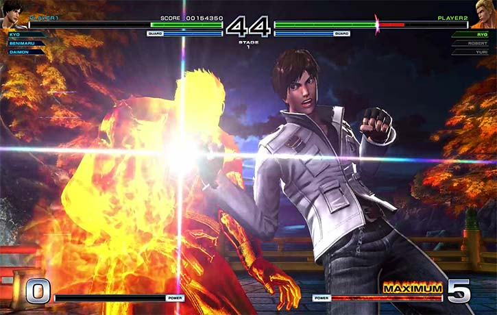 Kyo Kusanagis punches have a burning effect