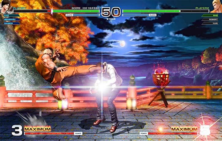 Ryo Sakazaki attacks with his hurricane kick