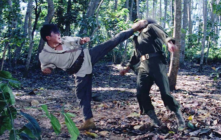 Yuen Biao delivers a full contact kick