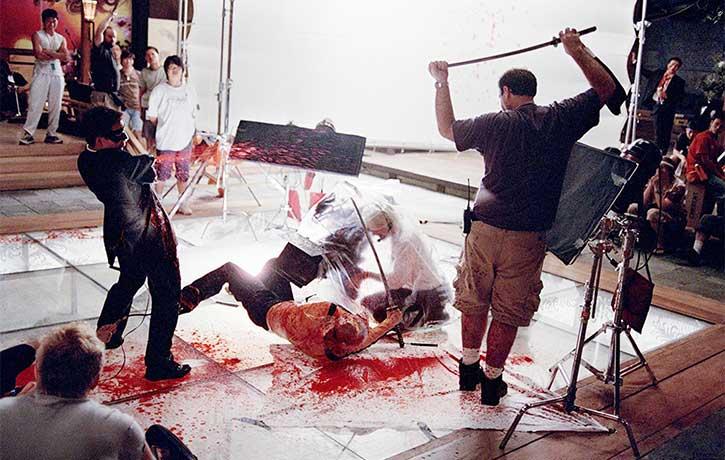 Arterial blood sprays out like a scarlet jet wash