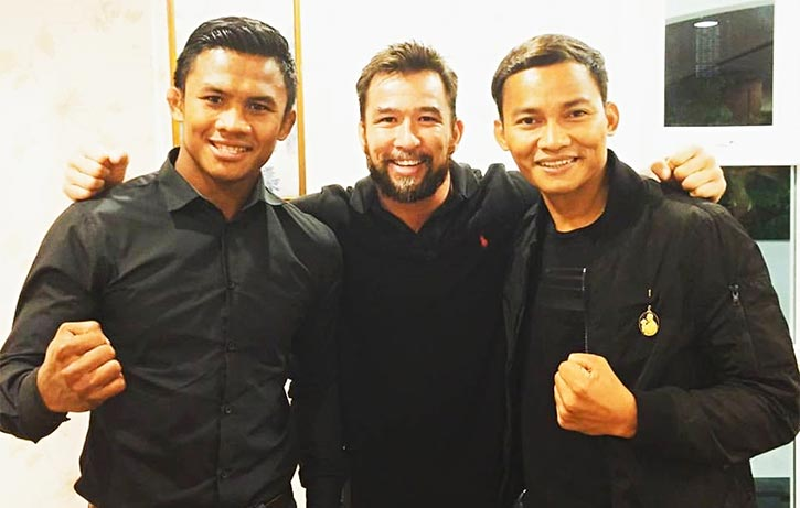 Chris with Tony Jaa and Muay Thai kickboxing legend Buakaw