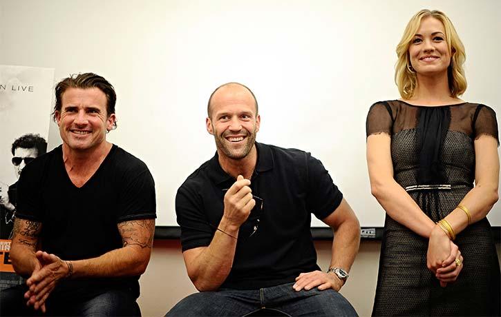 Dominic Purcell Jason Statham and Yvonne Strahovski all smiles
