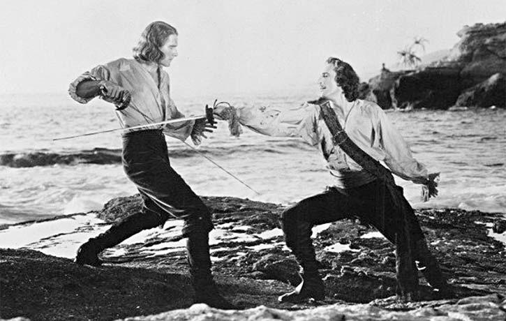 Errol Flynn and Basil Rathbone, 1935