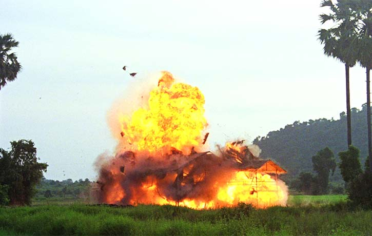 Director John Woo literally explodes into action