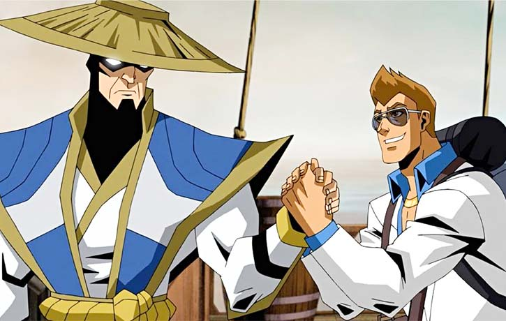 Johnny Cage realizes that Raiden has a surprisingly strong grip