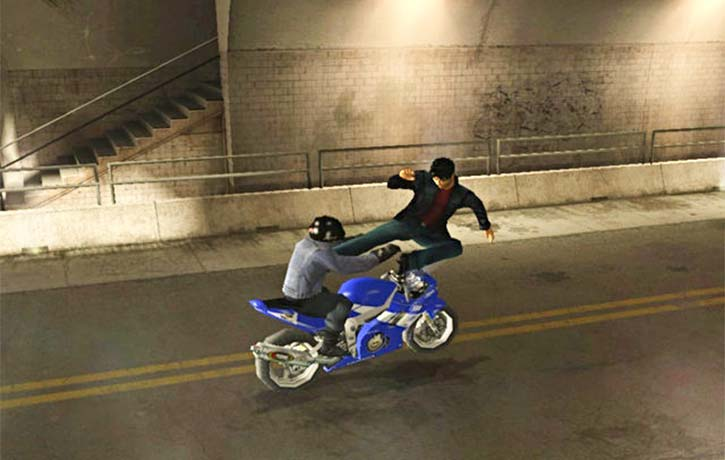 Kits flying kick brings down a motorcyle thug
