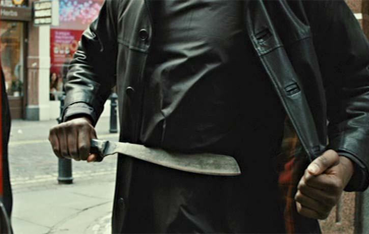 Enforcer pulls a machete on Joey