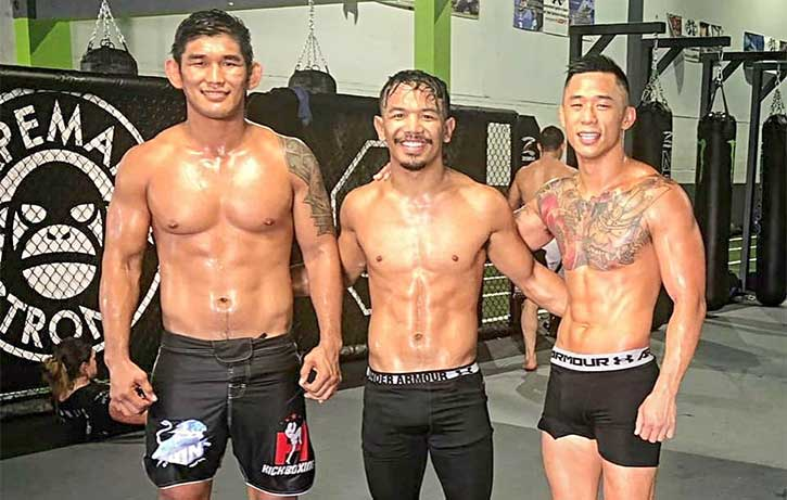 Martin Nguyen training with good friend and fellow One champion Aung La