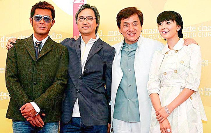 Promoting Rob B Hood with Louis Koo Jackie Chan and Gao Yuanyuan