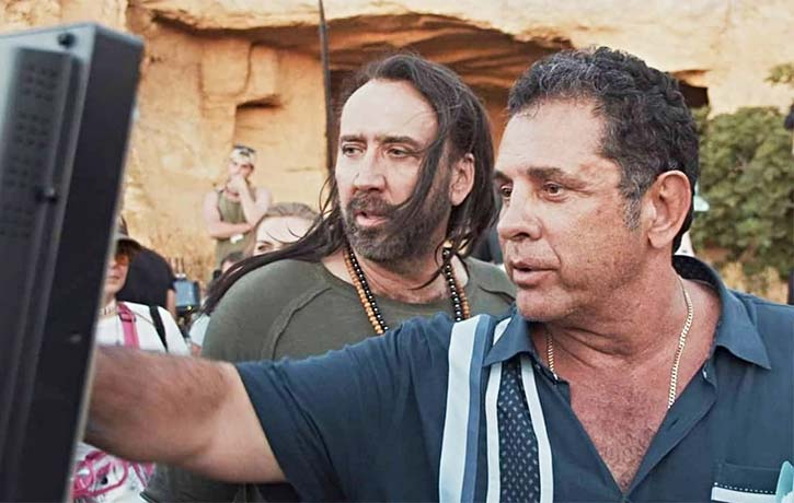 Nic Cage with director Dimitri Logothetis