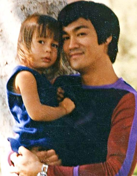 Shannon Lee as a child with her father