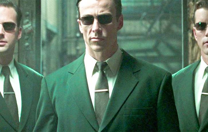 Daniel arrives on the scene as Agent Johnson in The Matrix Reloaded
