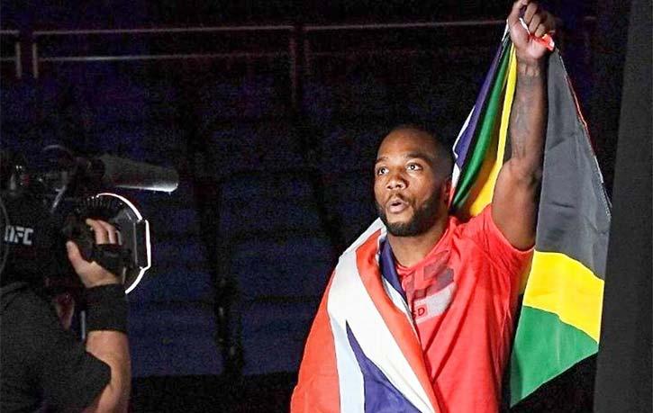 Leon Edwards sports both UK and Jamaica flags