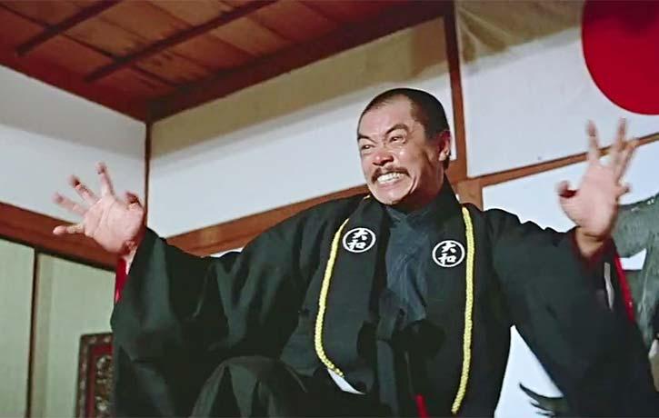 Chan Sing portrays the villainous Japanese martial arts teacher Okimura