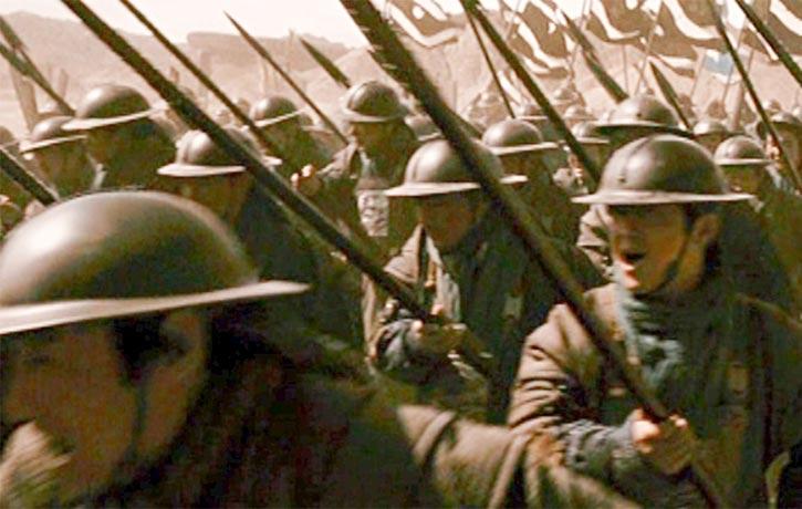 The battles are filmed like a war documentary