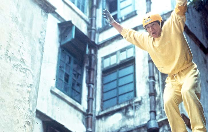 An incredibly dangerous high speed car chase featuring Jackie Chan on roller skates