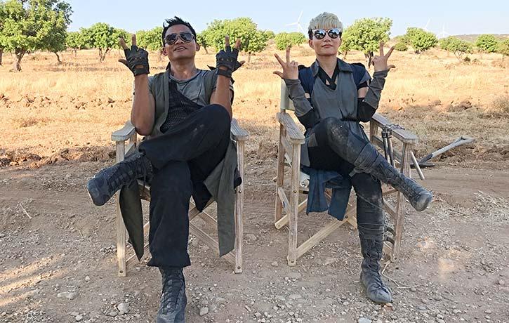 JuJu hanging out with with Tony Jaa on the set of Jiu Jitsu