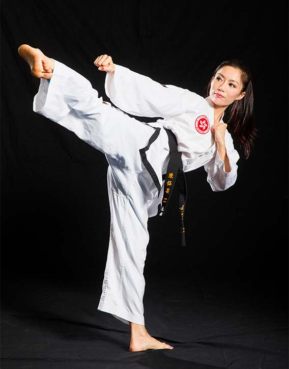 JuJu is well versed in the art of Taekwondo