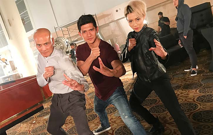 JuJu with Iko Uwais and Mark Dacascos on the set of Wu Assassins