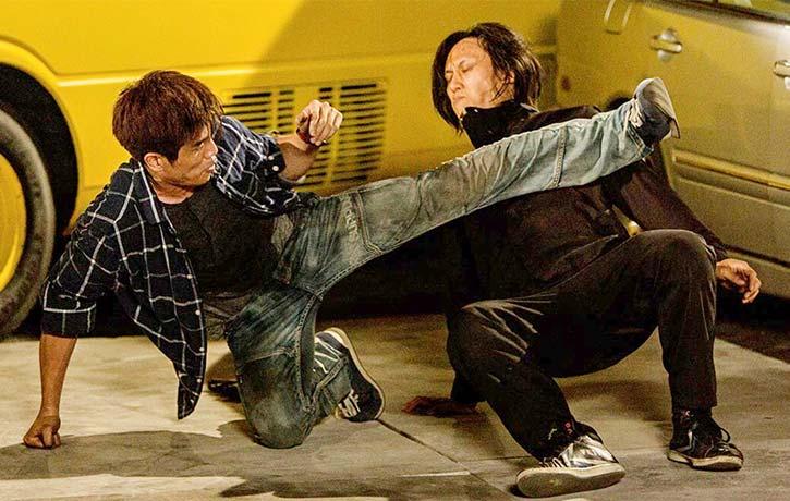 Phil utilizes his kicking skills on his new movie