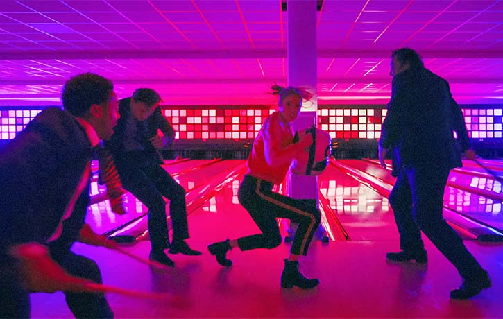Sam gives her all in the bowling alley brawl