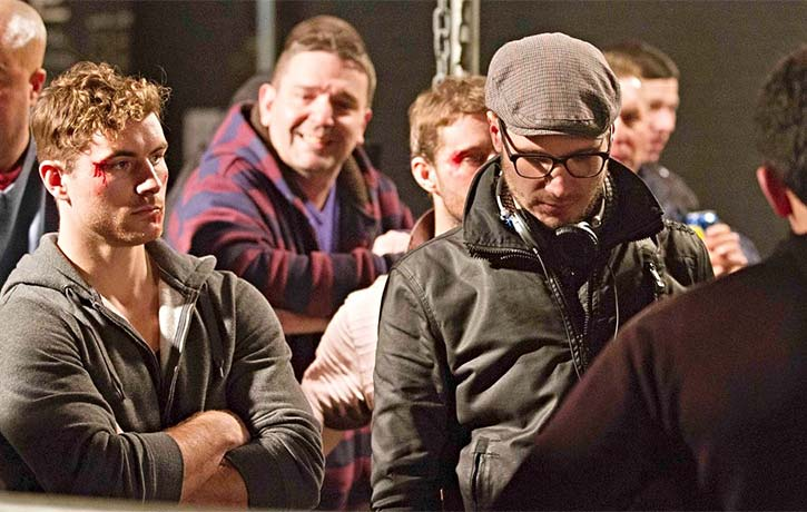 James and Christian Howard on the set of Green Street 3