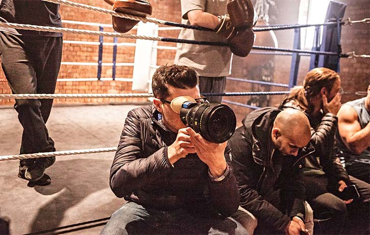 James prepares an upcoming fight shot on The Marine 6