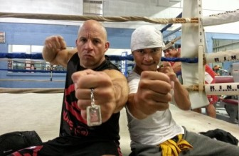 Tony Jaa and Vin Diesel in training